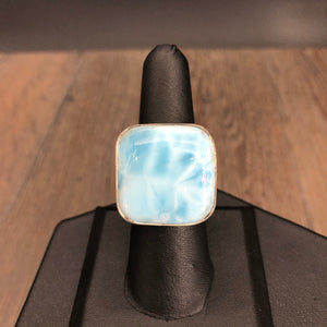 Larimar and sterling silver adjustable ring