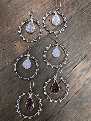 Seed bead hoops with druzy drops - silver
