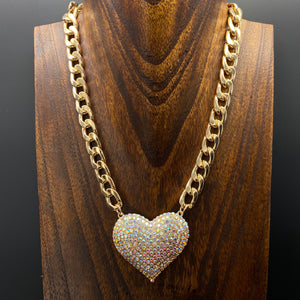XL pavé crystal heart necklace and earring set - AB gold