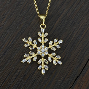 Baguette and cz snowflake necklace - silver, gold