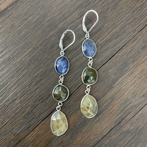 Faceted raw sapphire triple stone earrings -sterling
