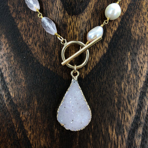 Wrap and toggle baroque pearl and rose quartz necklace