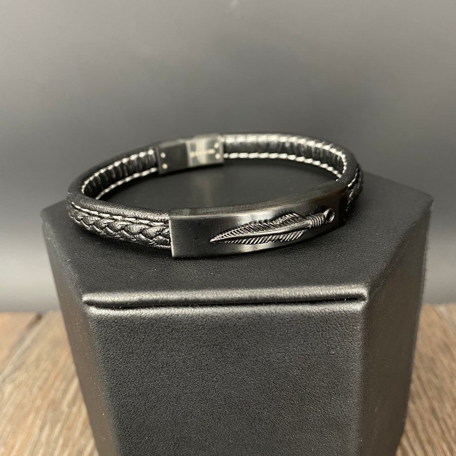 Men's braided vegan leather feather bracelet - gunmetal