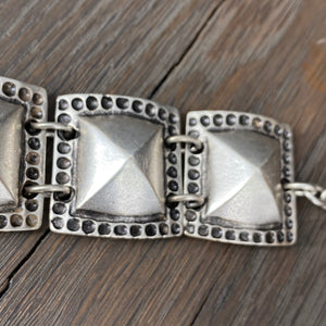 Rock stud bracelet - antique silver