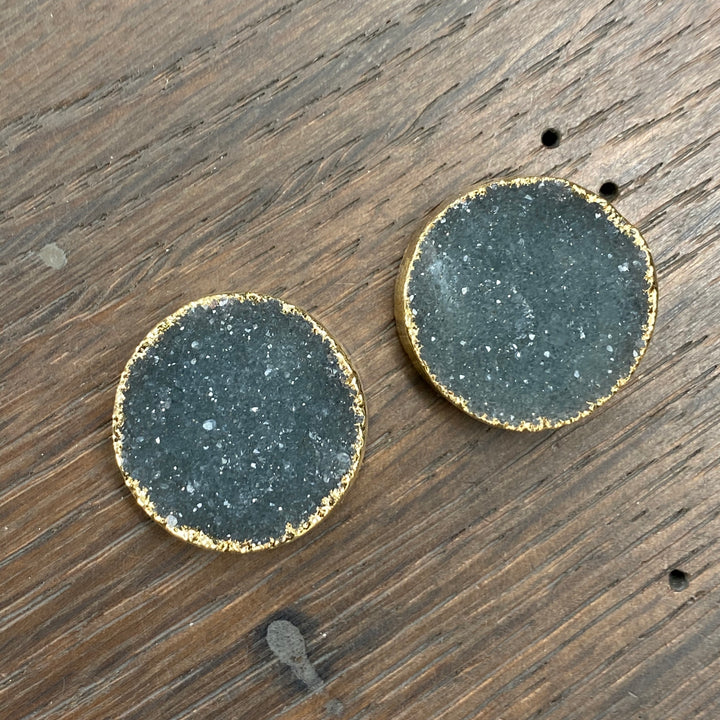 "Druzy ""button"" stud earring - gold"