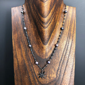 Peacock pearl, hematite and pavé cz star necklace - gunmetal