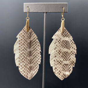 Faux snakeskin leather leaf earrings - brushed gold