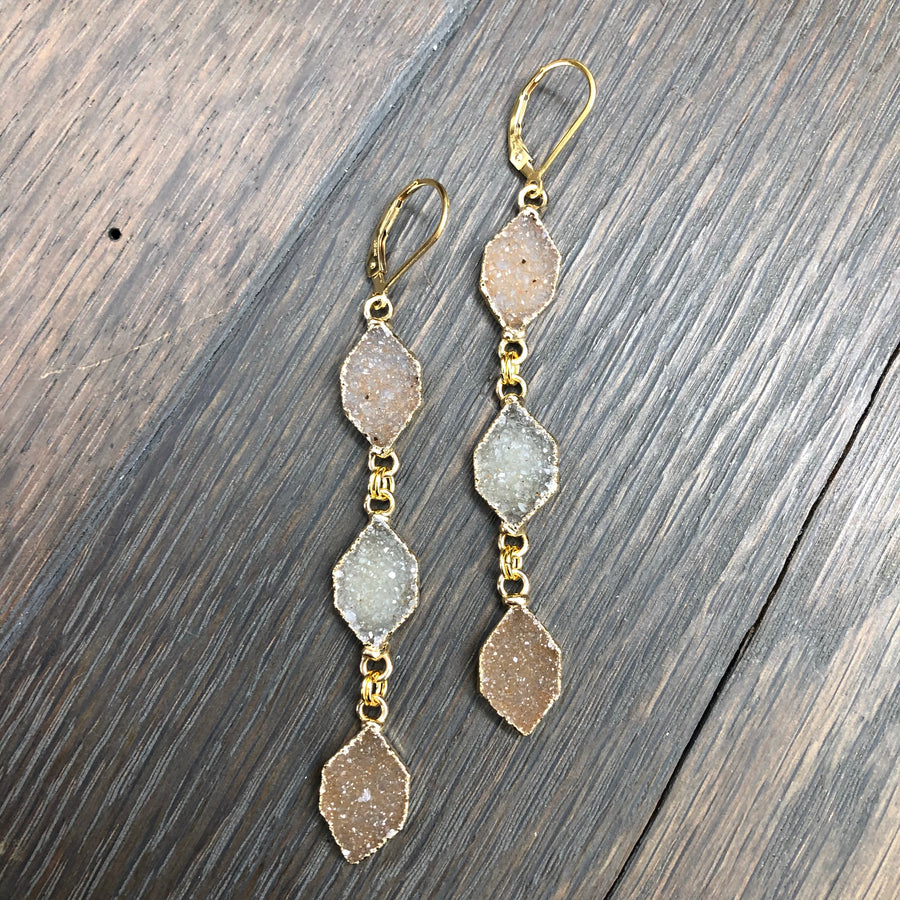 Triple druzy diamond shaped drop earrings - gold