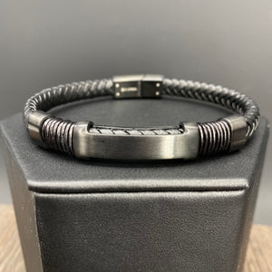 "Braided vegan leather ""H"" accent bracelet - gunmetal"