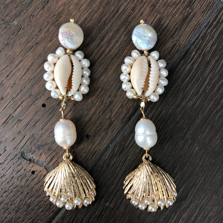 Freshwater pearl cowry shell statement earrings