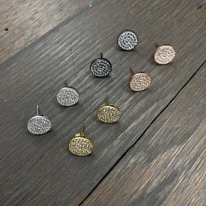 Sterling silver pavé cz disc stud earring - silver, gold, rose gold, gunmetal