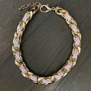 Braided leather/suede woven chain necklace - silver, gold