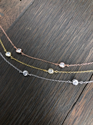 Dainty bezel cz layering necklace