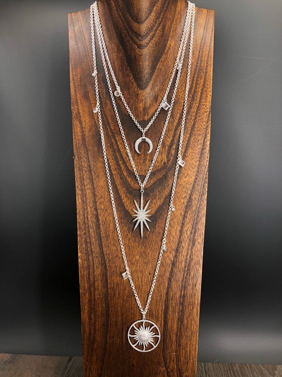 Sun, moon, and stars celestial charm necklace