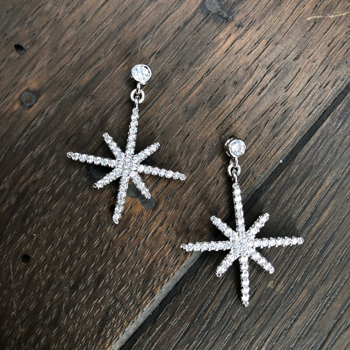Pavé cz silver tone star post earring