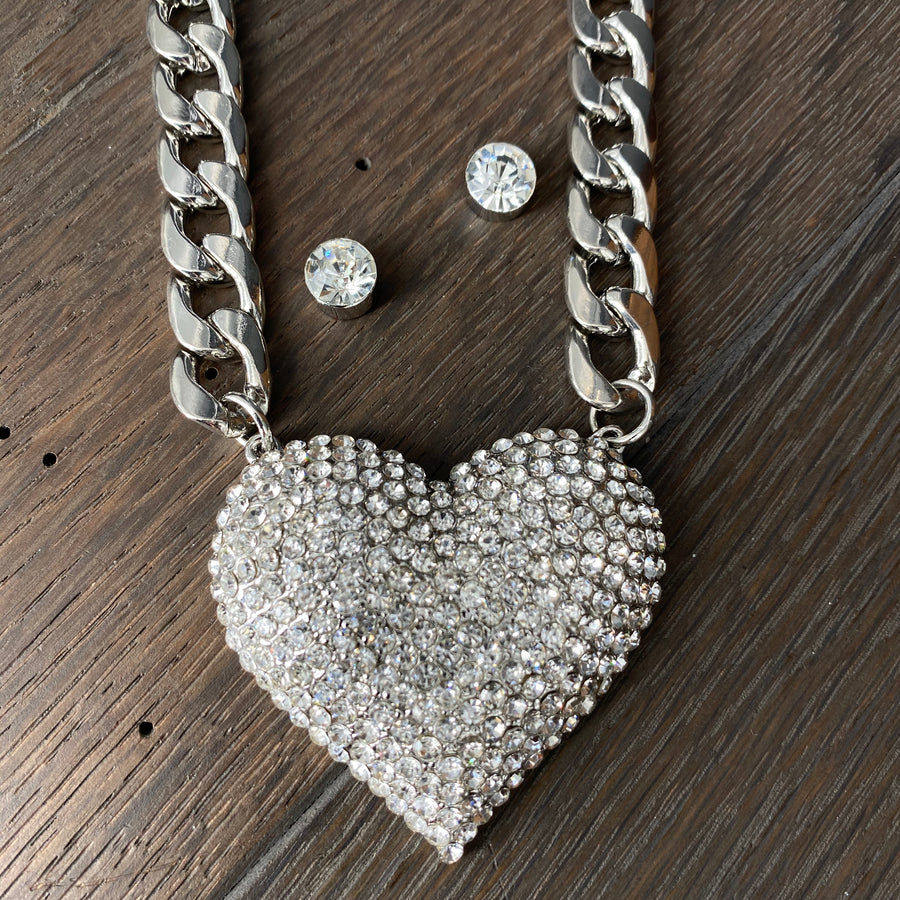 PREORDER - XL pavé crystal heart necklace and earring set - gold