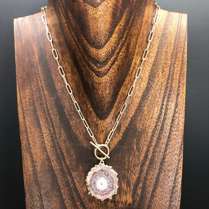 Wrap and toggle amethyst jasper stalactite slice necklace
