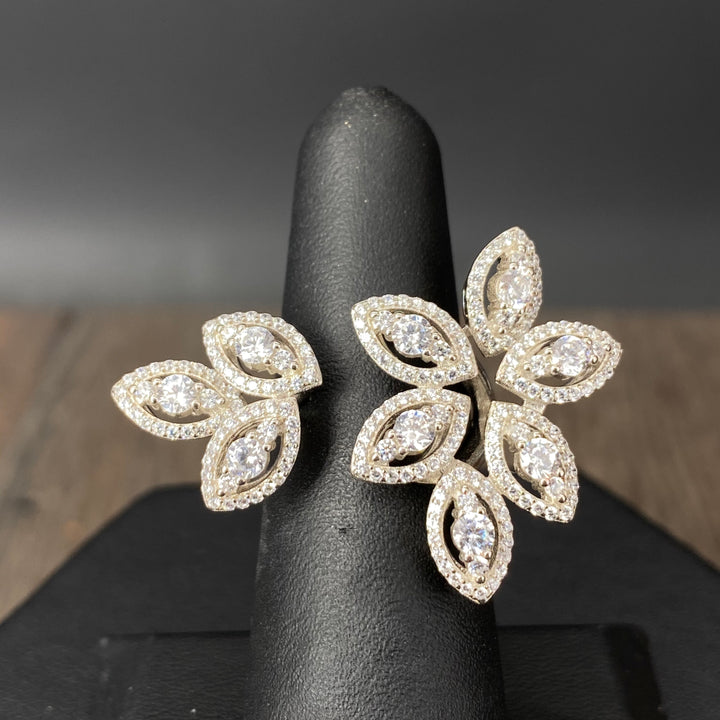 Marquis cz with halos open top petal ring - sterling and gold