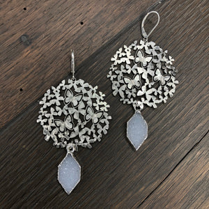 Butterfly disc with druzy drop earrings - silver