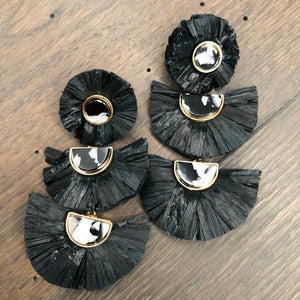 Raffia and acetate triple fan earrings