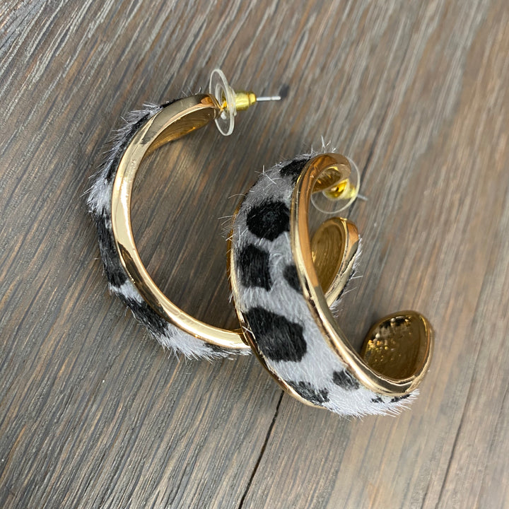 Animal print hoop earrings - gold