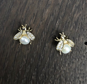 Baby bee stud earrings with faux pearl belly