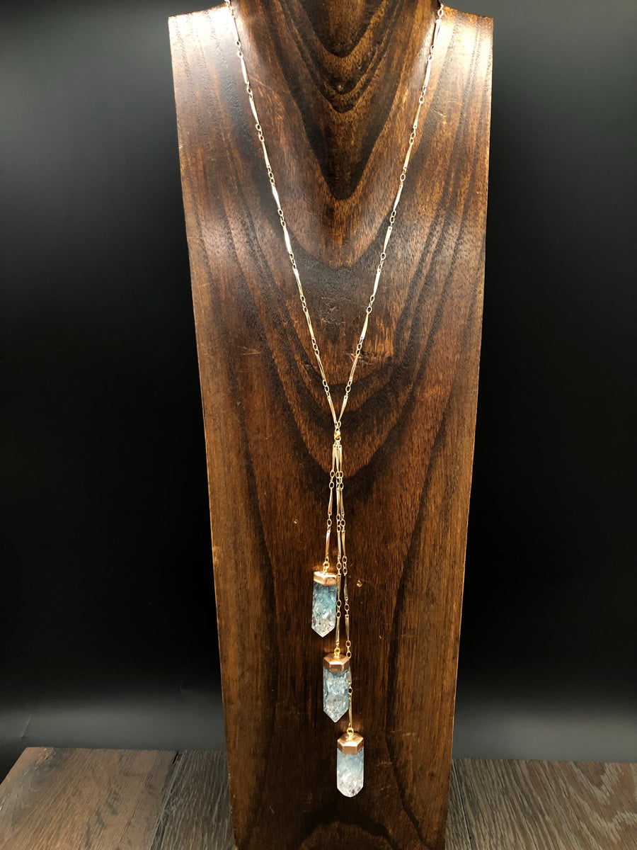 "Seafoam crackle quartz ""Waterfall"" lariat necklace"