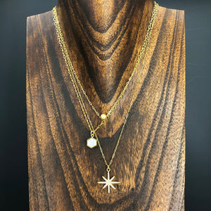 Three strand ball, druzy and pavé star necklace