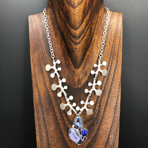 Dark blue agate, lapis lazuli and kyanite statement necklace