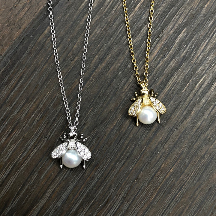 Baby bee faux pearl and cz necklace