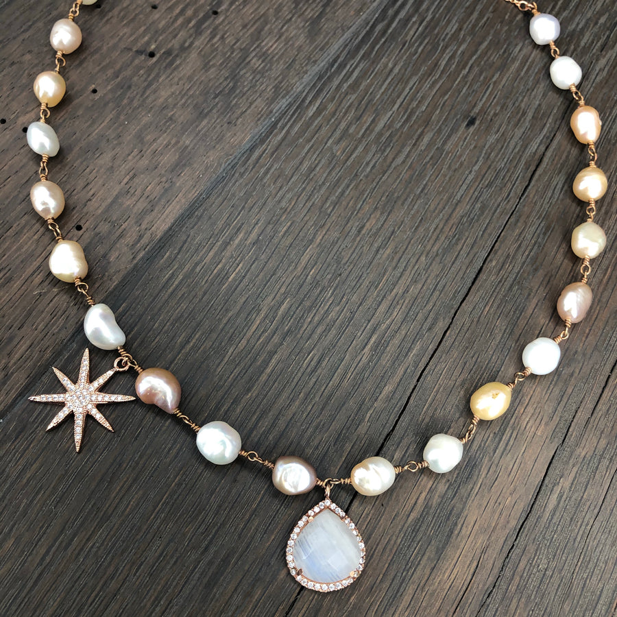 Rose gold freshwater pearl and rainbow moonstone necklace