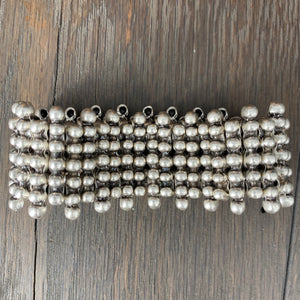 Dot bead bar row bracelet - antique silver