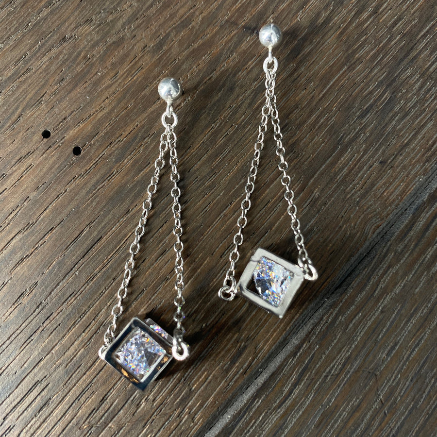 Geometric crystal cage earrings - silver