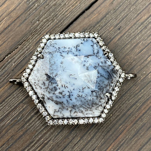 """Aspen Snowdrift"" Dendritic Opal and cz necklace - gunmetal"