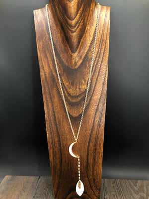 Reversible mother of pearl crescent moon long necklace