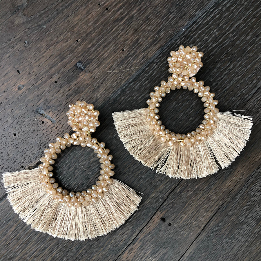 Seed bead and tassel statement earring