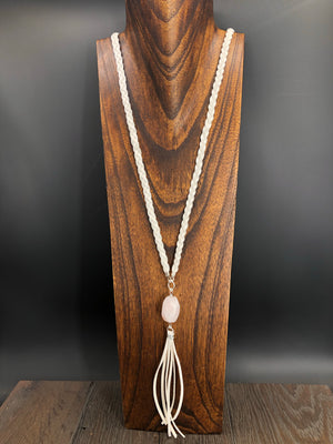 White leather with rose quartz accent necklace