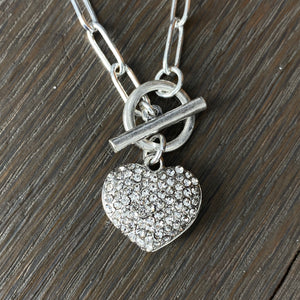 """Wrap and Toggle"" reversible pavé puffed heart necklace - silver, gold"