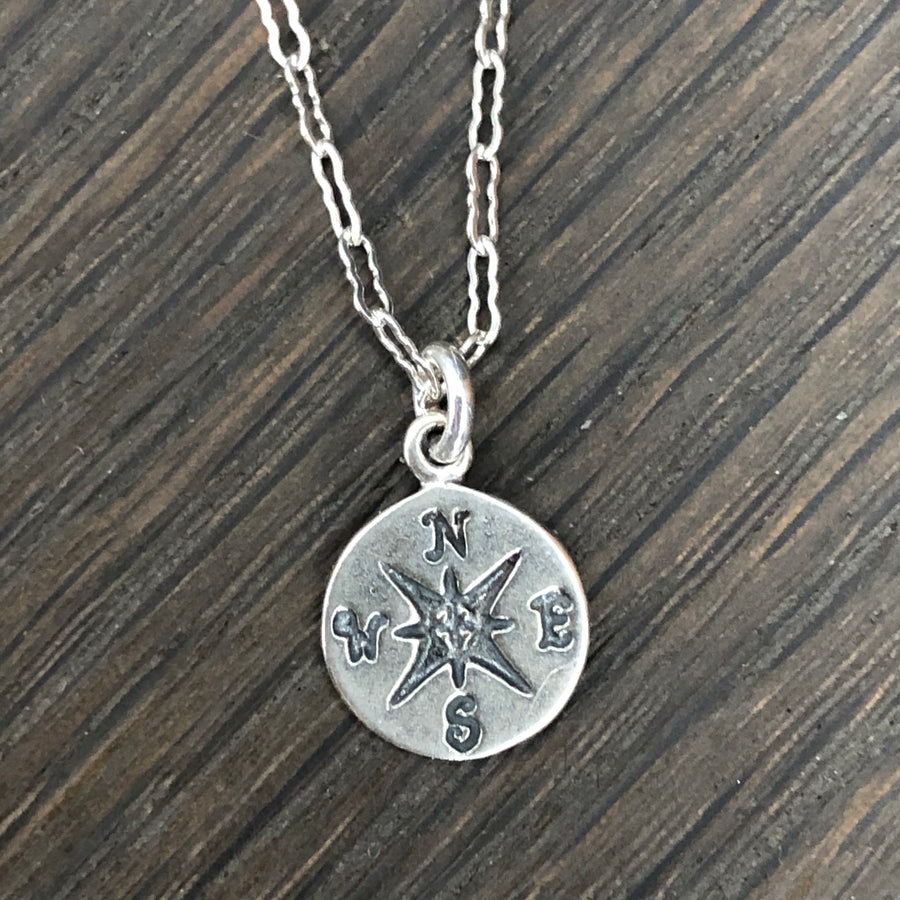 Tiny compass coin necklace