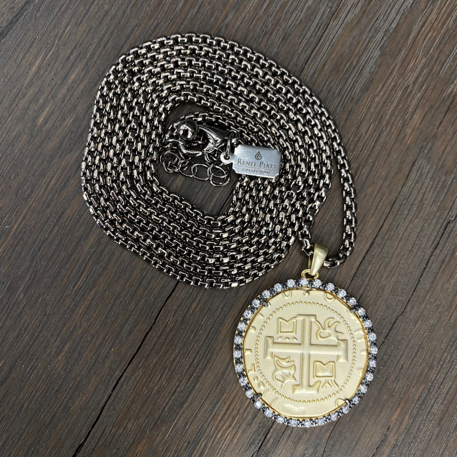 Large coin necklace - gunmetal, brushed gold