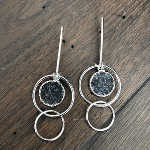 Elevated bar, geo druzy earrings - silver