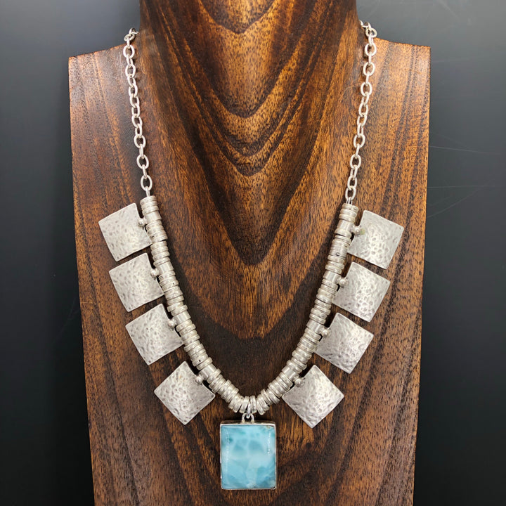 Larimar cushion/rectangle statement necklace
