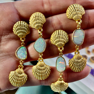Lab created opal accented shell post earrings