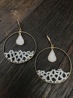 "Ivory ""Ocean Wave"" beaded hoop earrings"