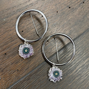 Amethyst/jasper stalactite slice drop hoop earrings - silver