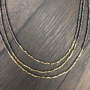 Gray seed bead three strand necklace