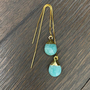 Gemstone drop thread earrings - gold