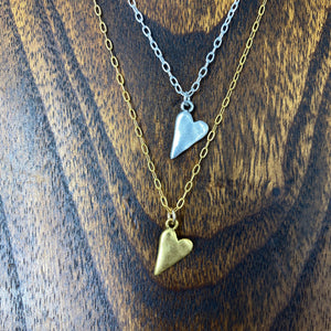 Small tilted heart pendant - silver, gold