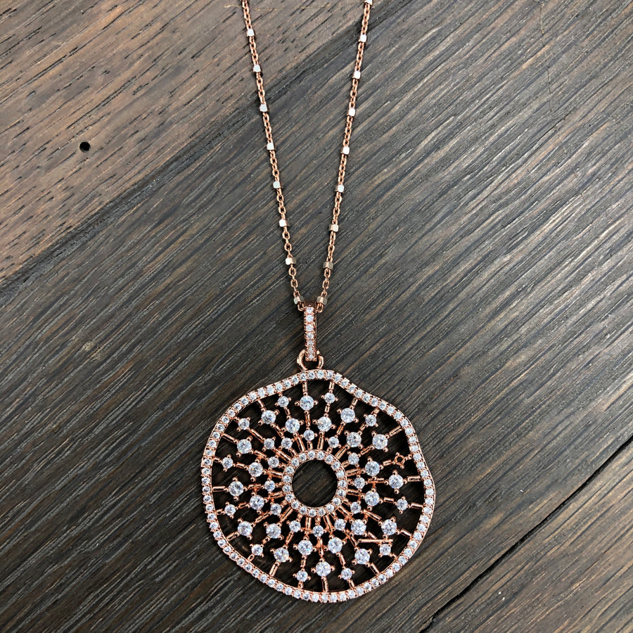 Pavé cz disc necklace - gunmetal and rose gold