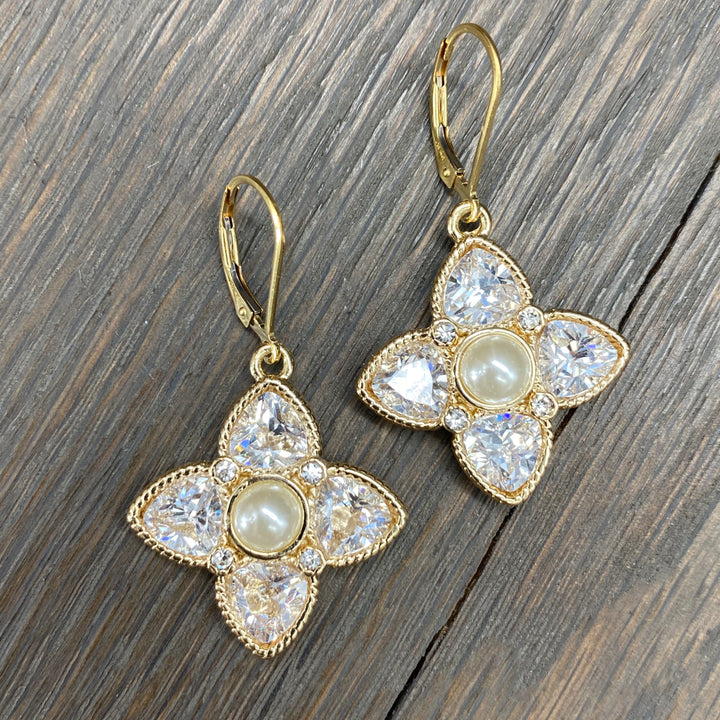 Faux pearl and cz flower earrings - gold